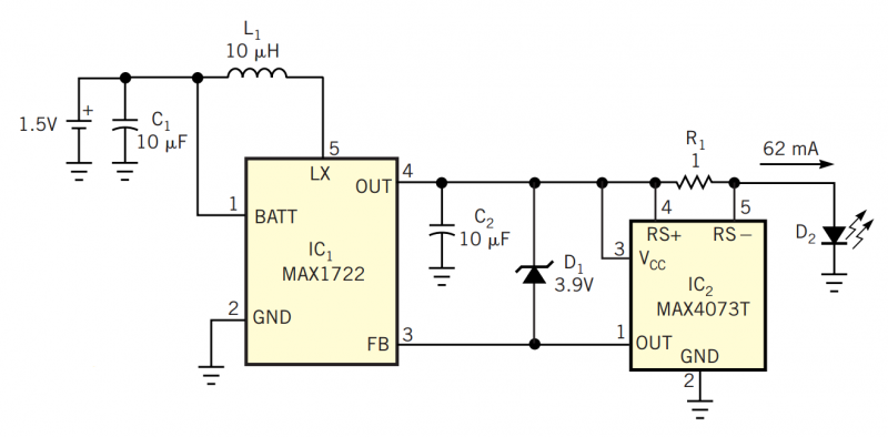 1.5V battery powers white-LED driver - schematic