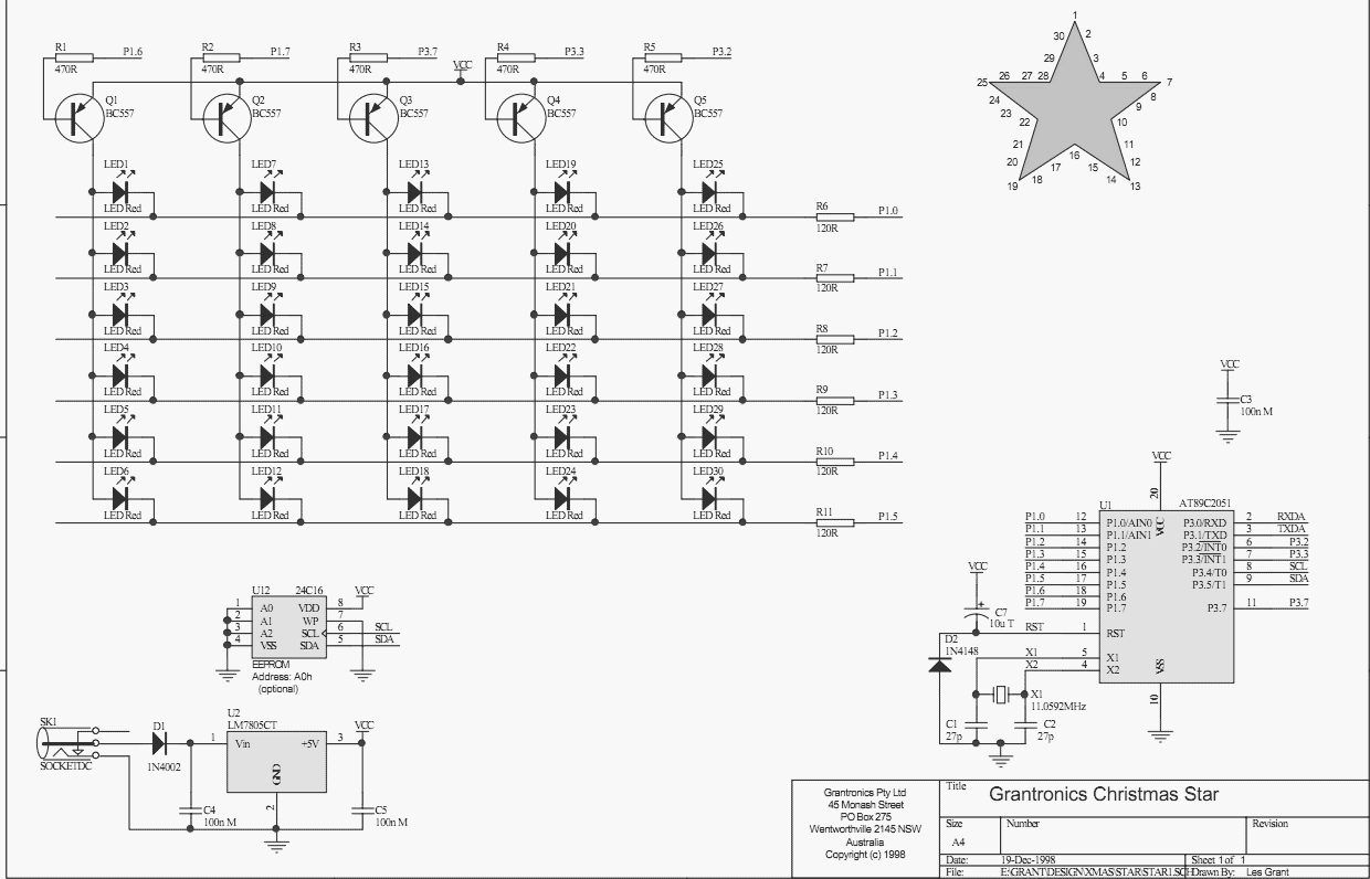 Christmas Star with LEDs - schematic