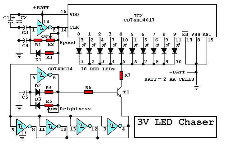 LED Chaser - schematic