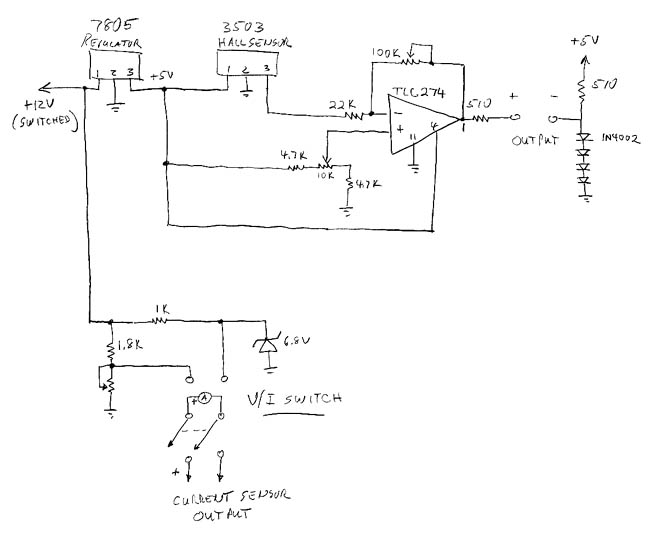 Electronic Ammeter and Voltmeter - schematic