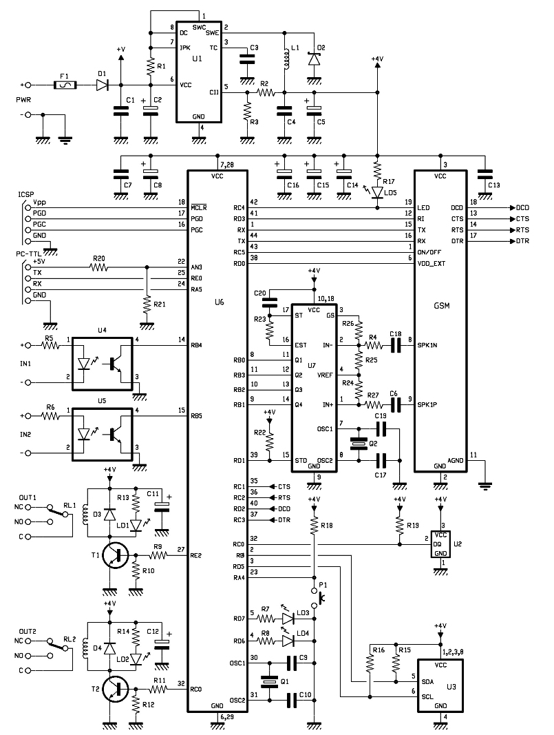 gsm remote control motherboard schematic under repository