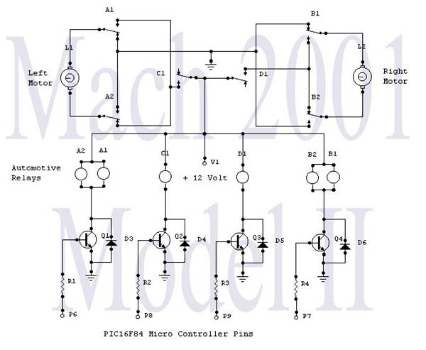 Motor relay circuit - schematic