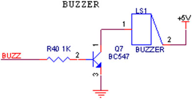 buzzer interfacing with avr primer - schematic