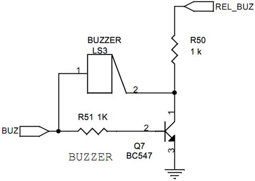 buzzer interfacing with avr slicker - schematic