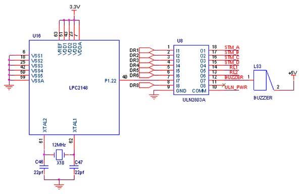 buzzer interfacing with lpc2148 arm7 slicker - schematic