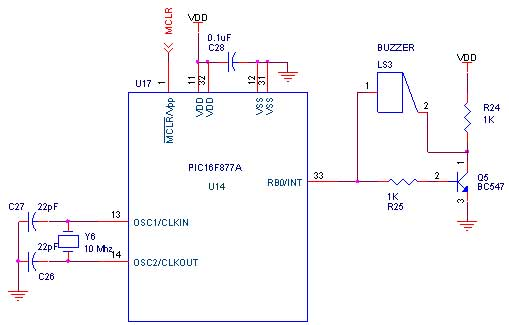 buzzer interfacing with pic16f877a primer - schematic