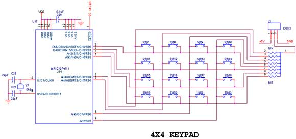 keypad interfacing with pic16f877a primer - schematic