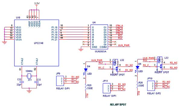 relay interfacing with lpc2148 arm7 primer - schematic