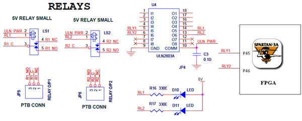 relay interfacing with spartan 3an fpga - schematic