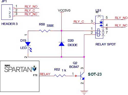 interfacing relay with spartan 6 fpga - schematic