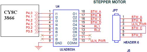 stepper motor interfacing with cy8c3866 psoc 3 - schematic