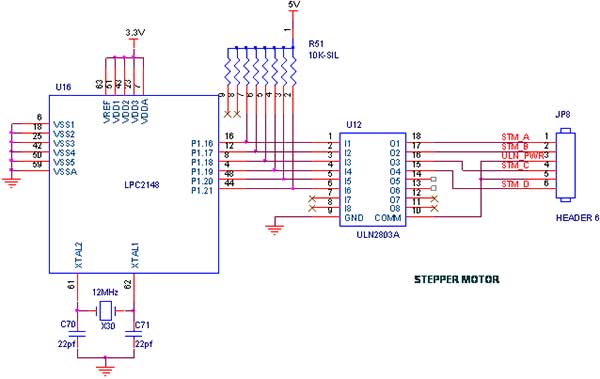 stepper motor interfacing with lpc2148 arm7 primer - schematic