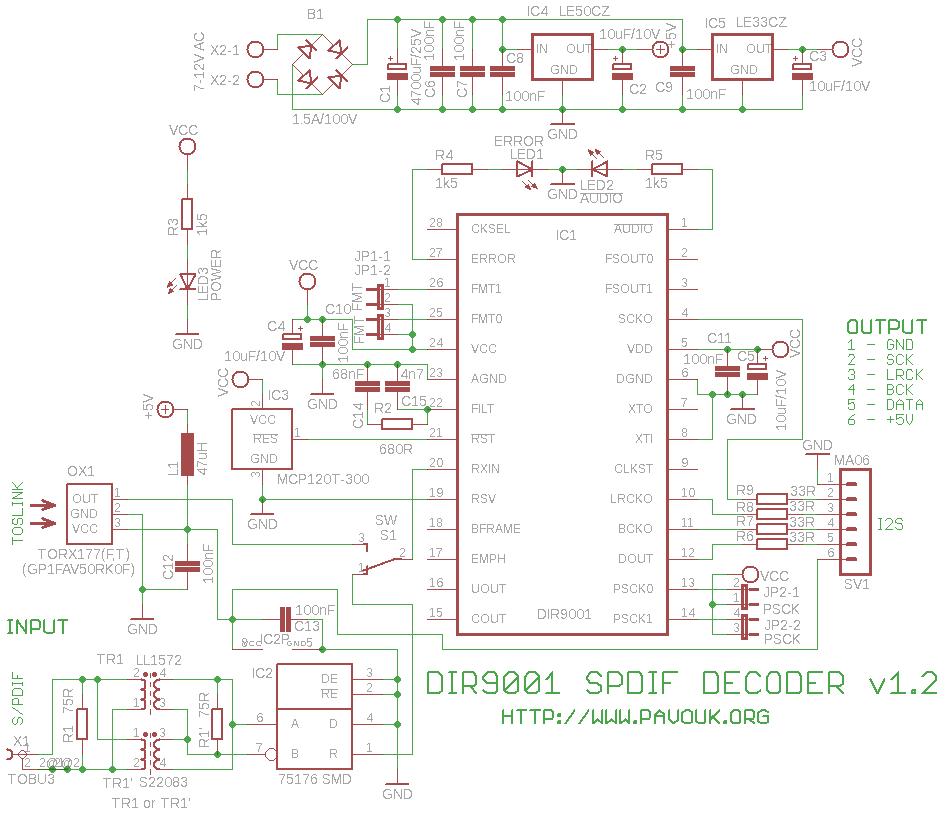 DIR9001 SPDIF decoder - schematic