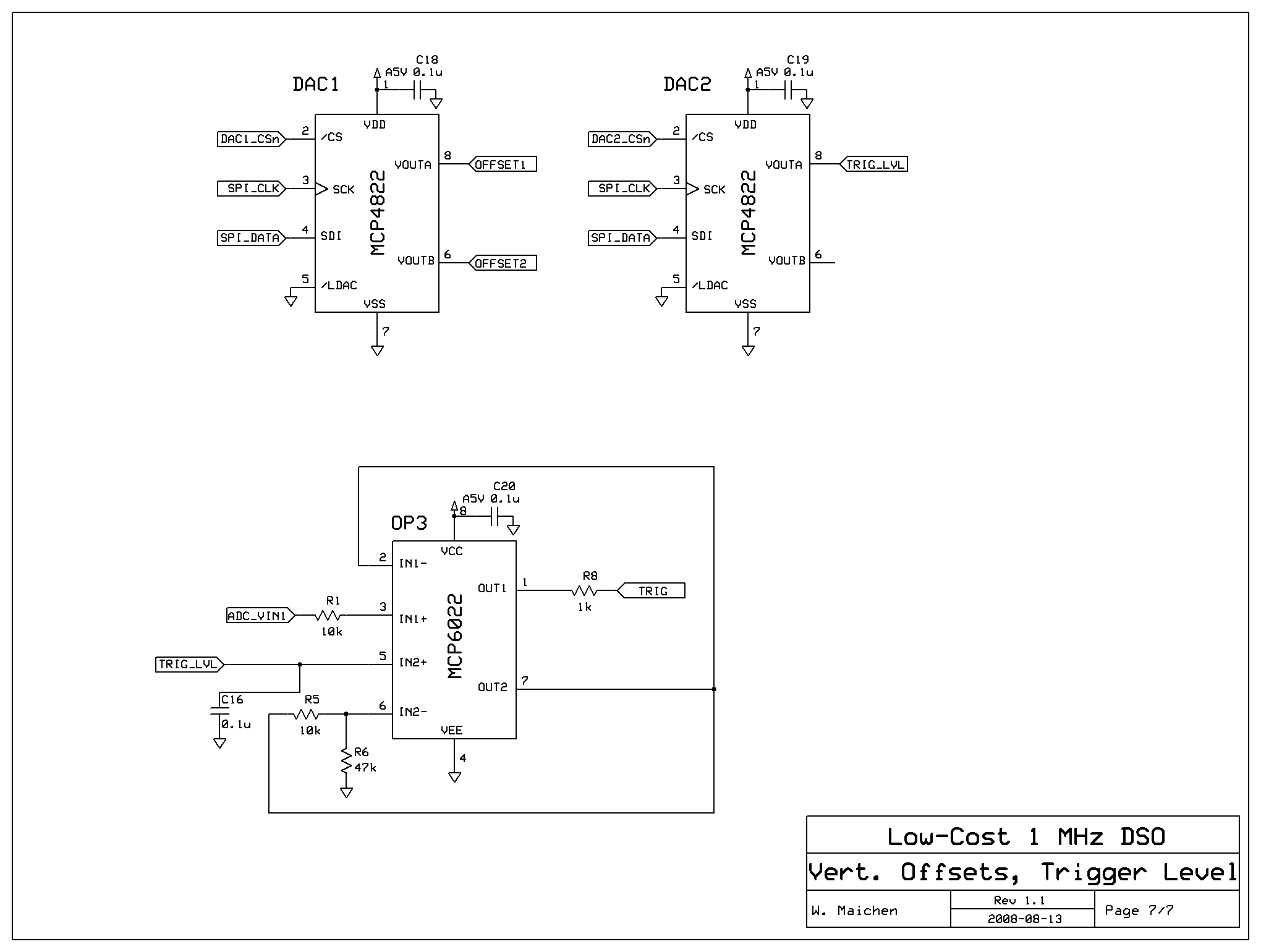 LCS-1M - A Low-Cost Hobby Oscilloscope - schematic
