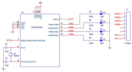 single phase pwm inverter using dspic30f4011 - schematic