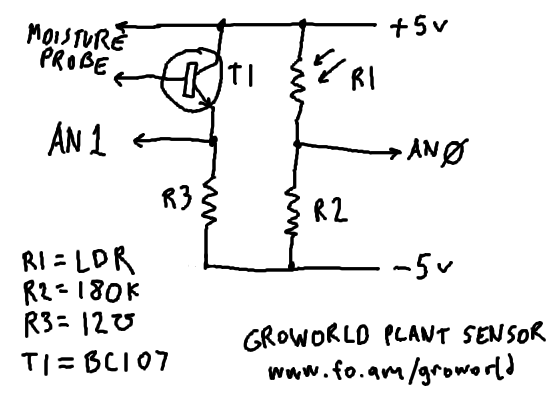 More on the plant sensor - schematic