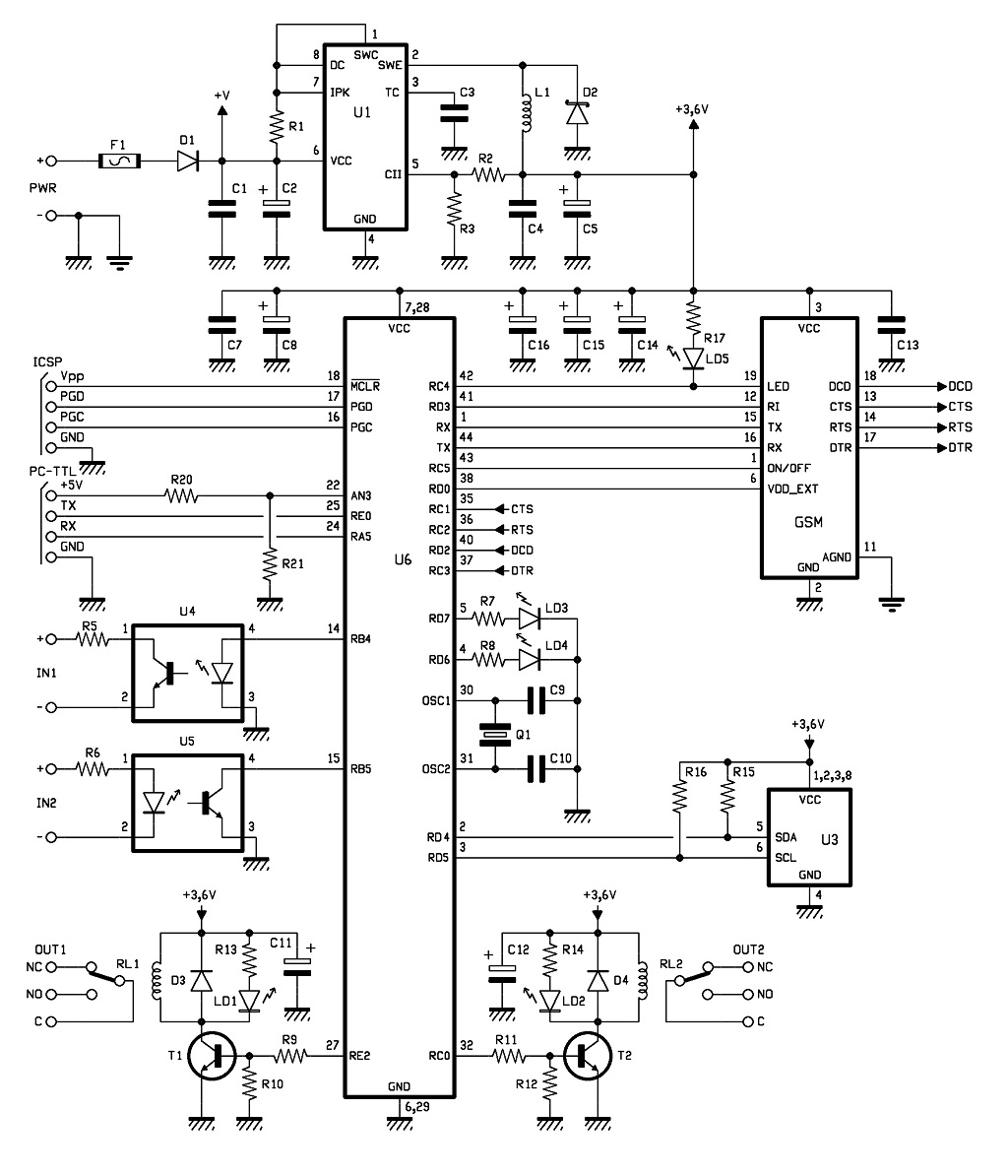 GSM Remote Control 2 IN and 2 OUT Part 2 Schematic