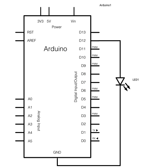 Arduino Blinky LED Intro Circuit - schematic