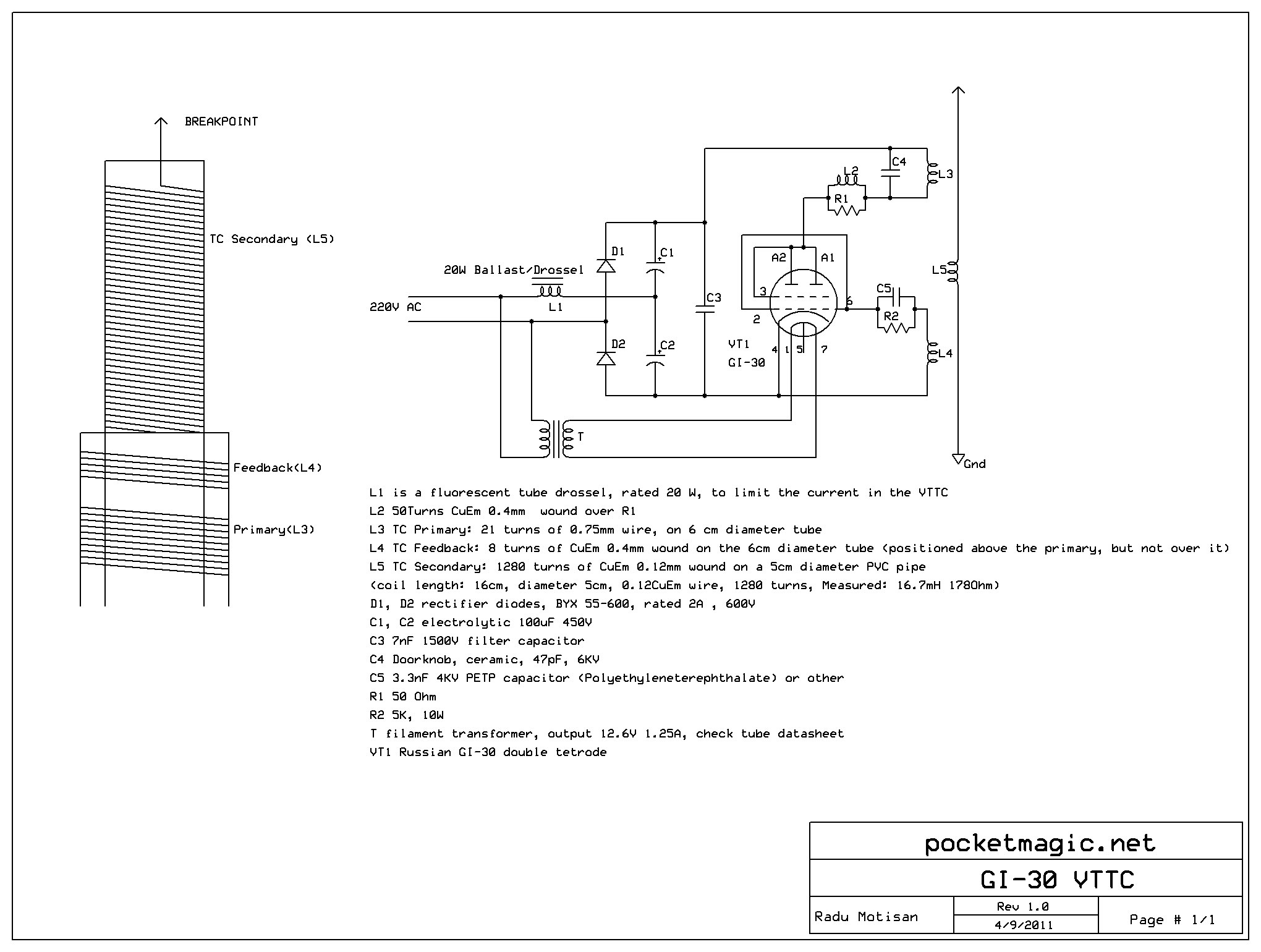 Tesla Lamp Schematic Download Wiring Diagrams Diagram Coil Circuit Page 3 Power Supply Circuits Next Gr