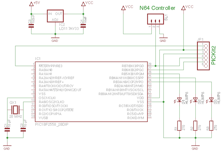 Nintendo 64 controller with PIC microcontroller