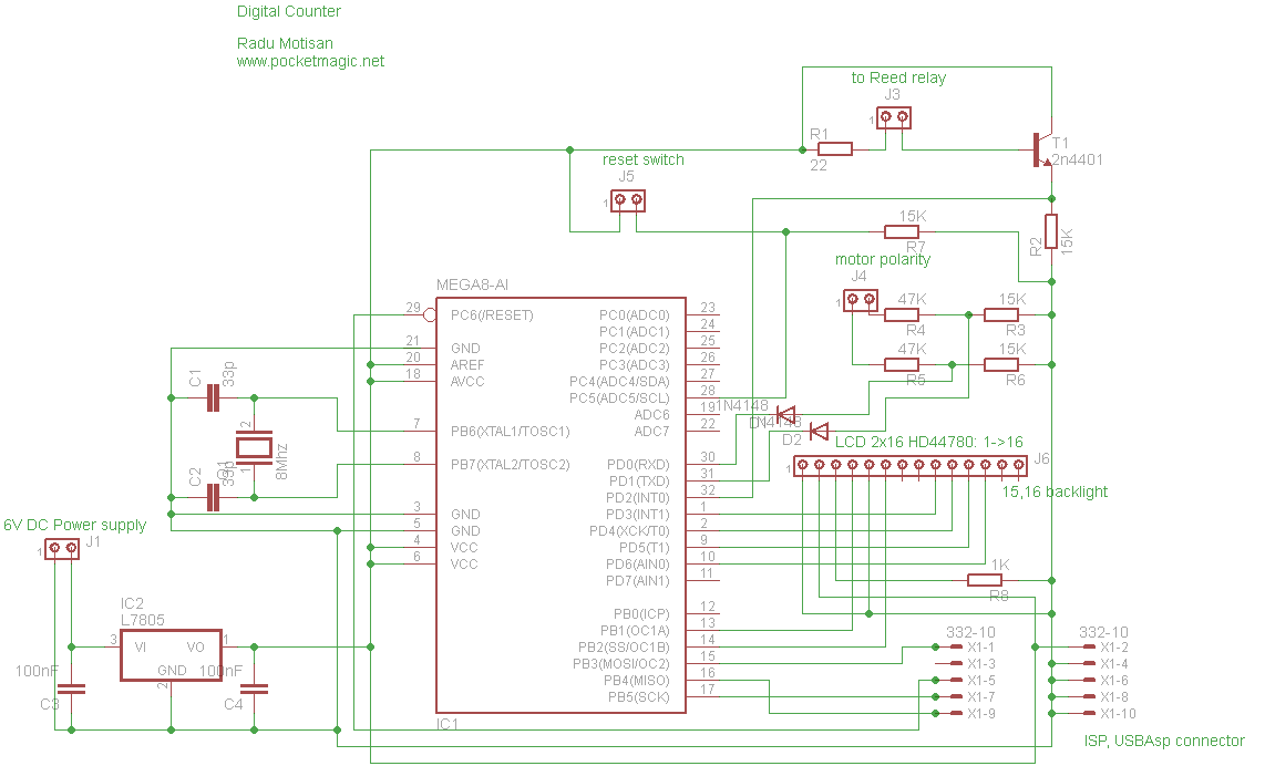 Coil Winding machine counter with Atmega8 and Reed relay - schematic