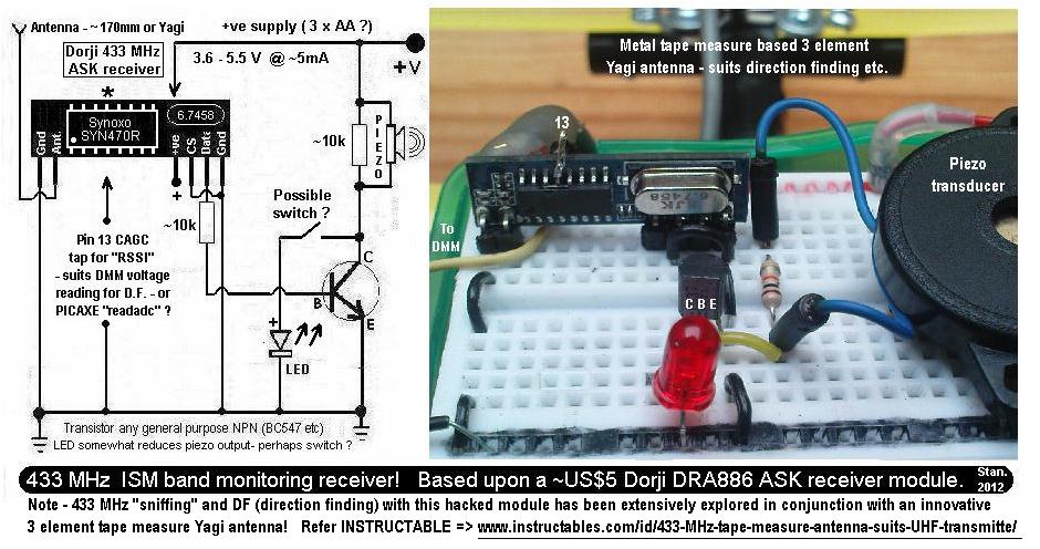 433 MHz UHF lost model radio beacon - schematic