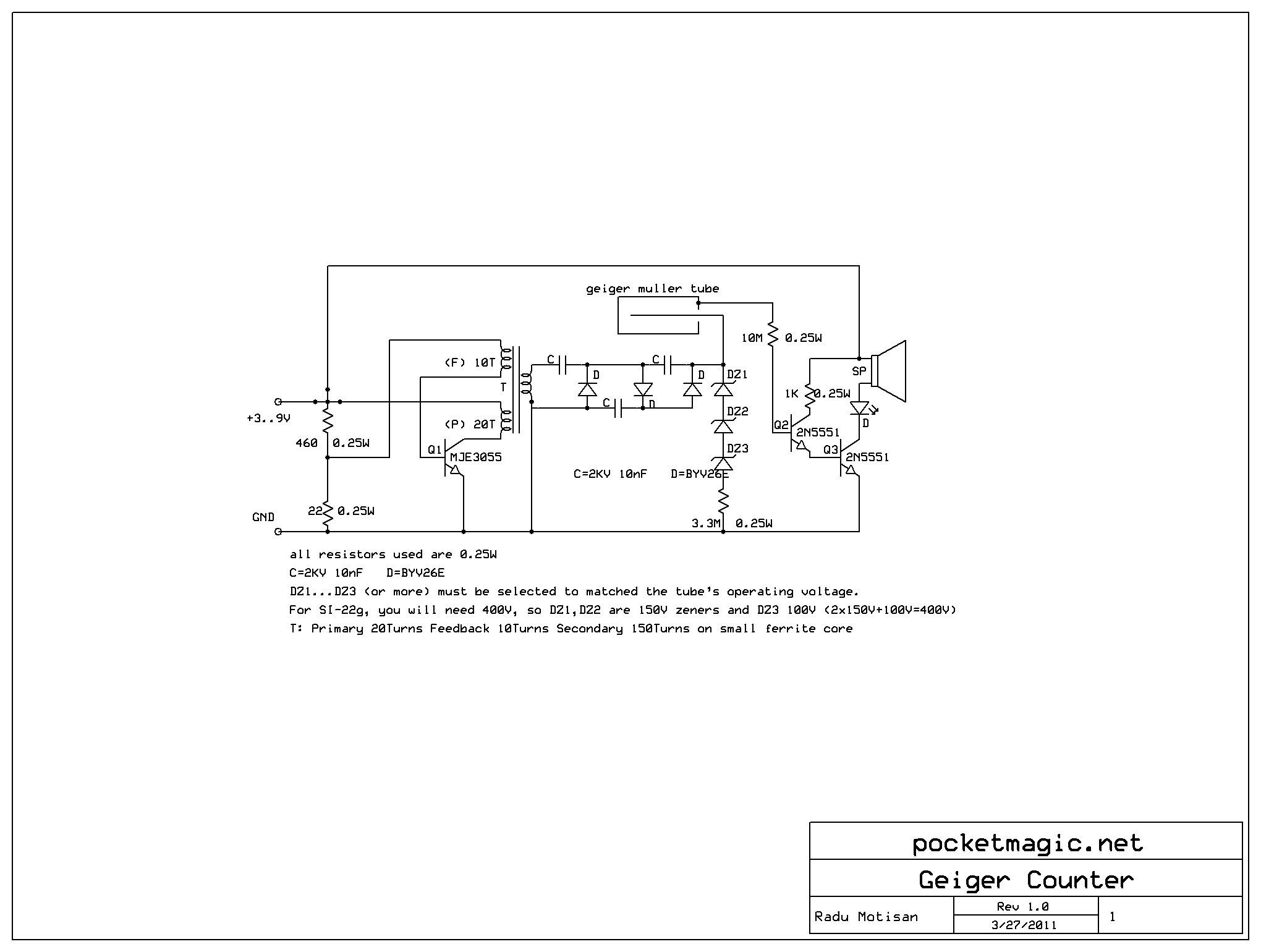DIY/Homemade Geiger Muller Clicker V1 - schematic