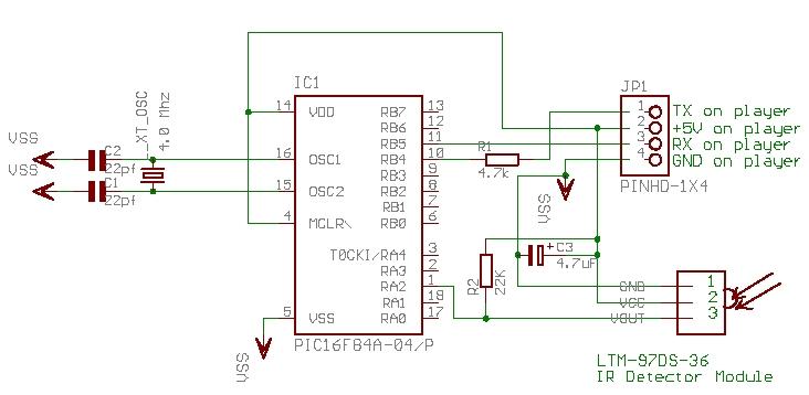 MP3 IR decoder/Remote Control - schematic