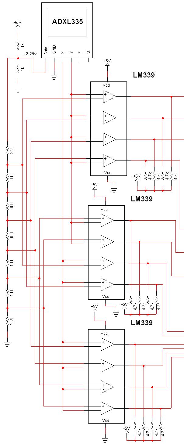 Tilt Sensor via Accelerometer Circuit - schematic