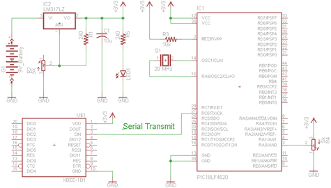Xbee Wireless Servo Motor Control Circuit - schematic
