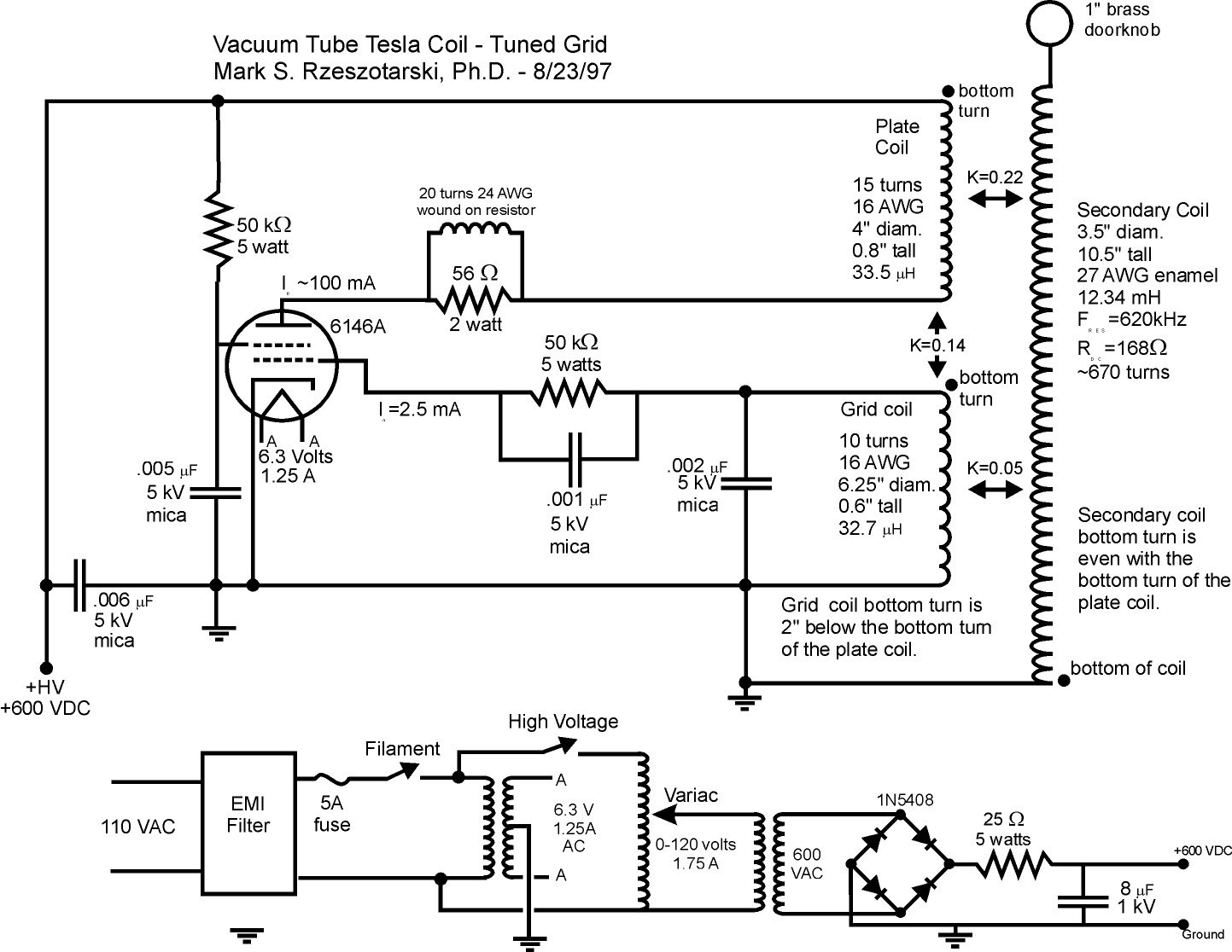 Tesla Coil Circuit Page 3 Power Supply Circuits Telephone Gt Dtmf Decoder With Voice L7625 Nextgr Miniature Vacuum Tube