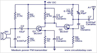 Spy FM Transmitter Circuit - schematic