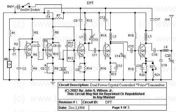 FM Crystal Controlled Transmitter DPT - schematic