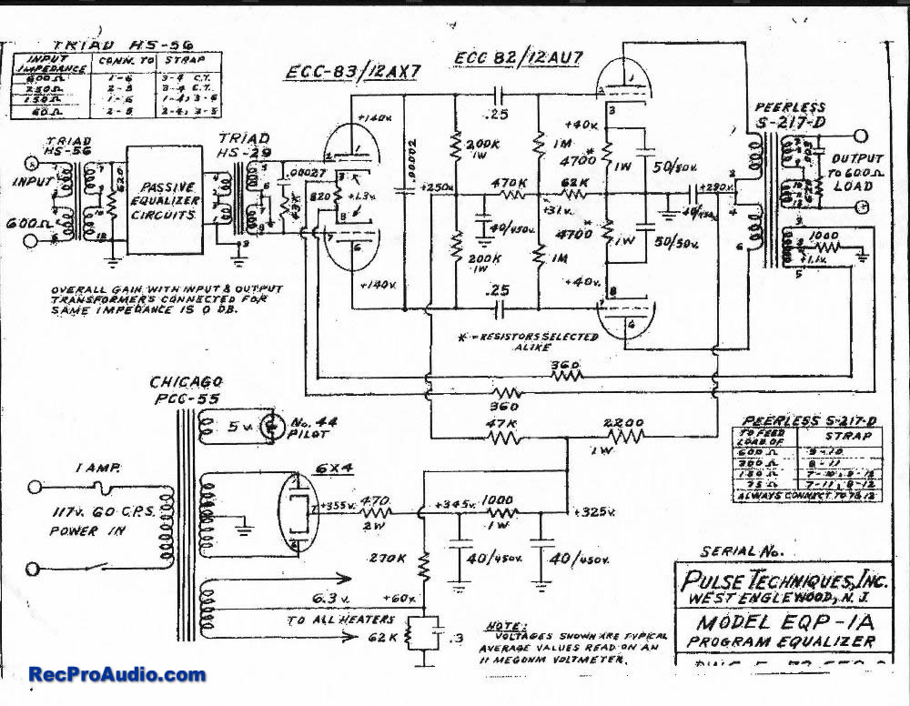 Pultec EQP1A Equalizer - schematic
