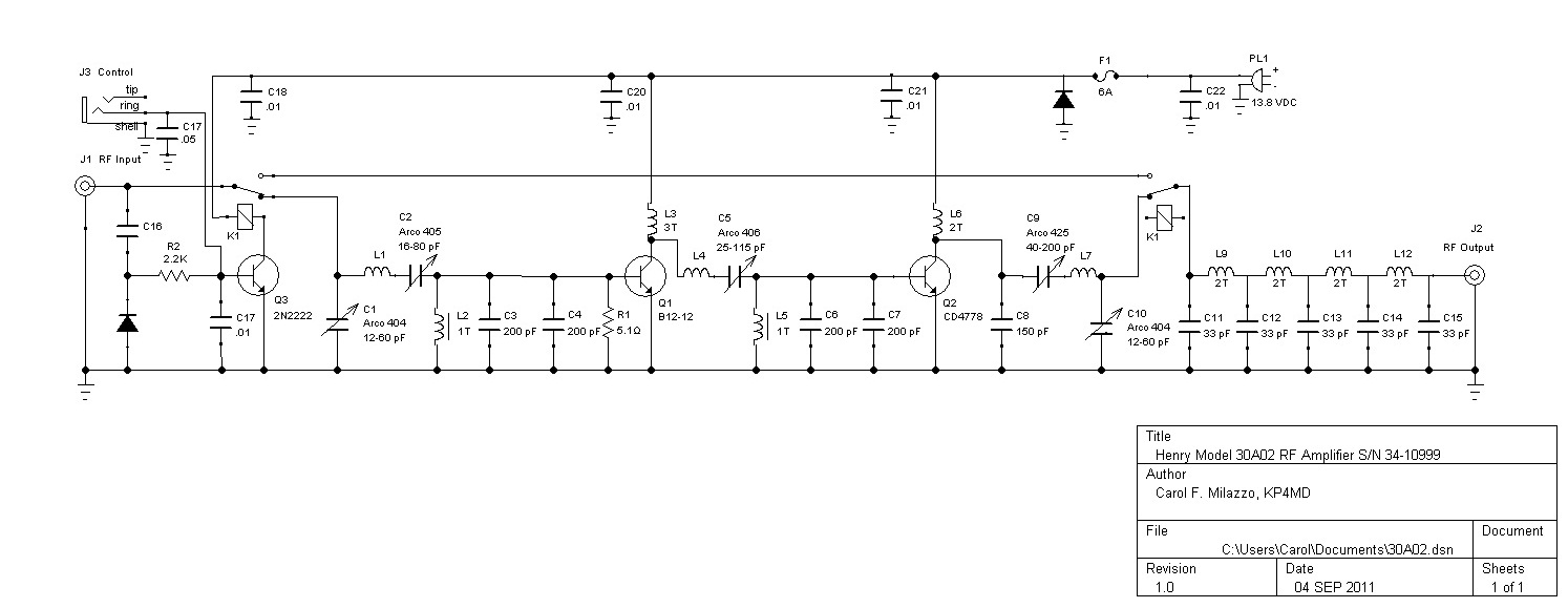 Rf Amplifier Circuit Page 5 Circuits Simple Power Switch Diagram Electronic Diagrams Aligning The Henry Radio 30a02 Tempo S 30