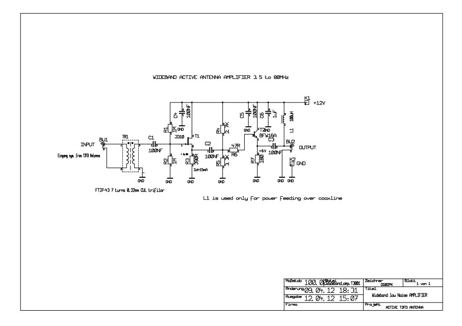 WIDEBAND ACTIVE RECEIVING ANTENNA - schematic