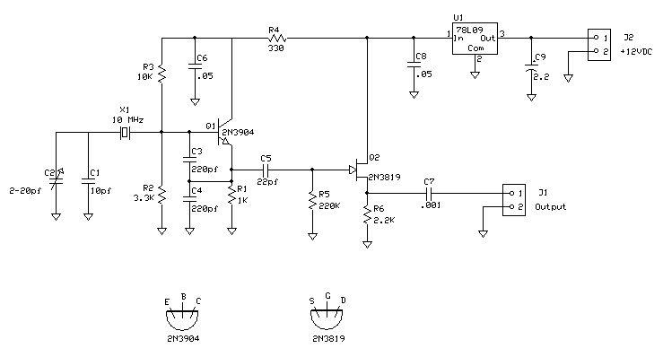 Crystal Oscillator - schematic