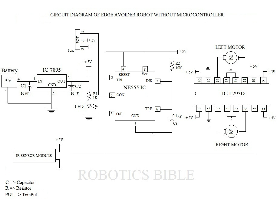 Edge Avoider Robot without microcontroller - schematic