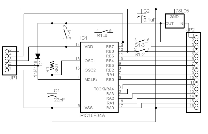 PICmicro Processor Unit version 2 - schematic