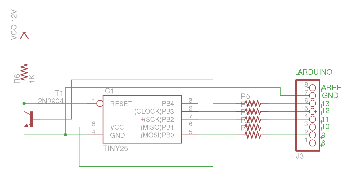 Arduino AVR High-Voltage Serial Programmer - schematic
