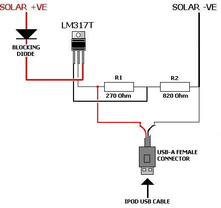 Solar iPod Charger - schematic