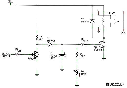 PIR Sensor Circuits - schematic
