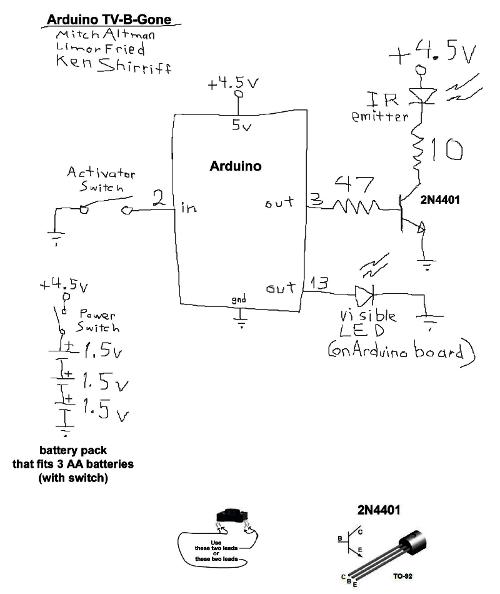 Improved Arduino TV-B-Gone - schematic