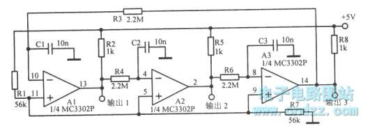 17Hz three-phase square wave oscillator circuit - schematic