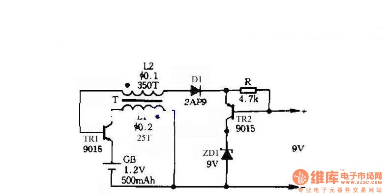Self-control digital inverter power supply circuit diagram:1.2V rising to 9V - schematic