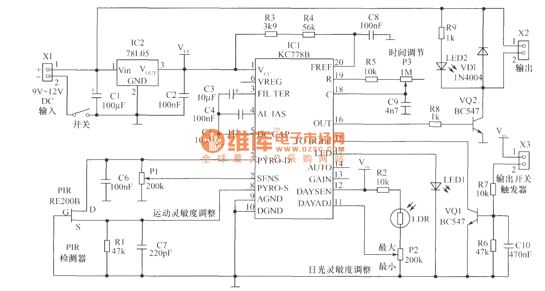 Led Motion Sensor Diagram Download Wiring Diagrams Detection Flood Light Gt Circuits Object Detector Circuit L51633 Outdoor Lights
