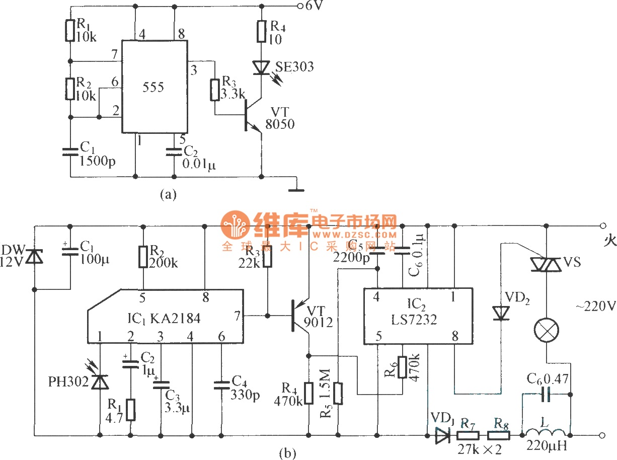 IR remote control dimmer light circuit diagram - schematic