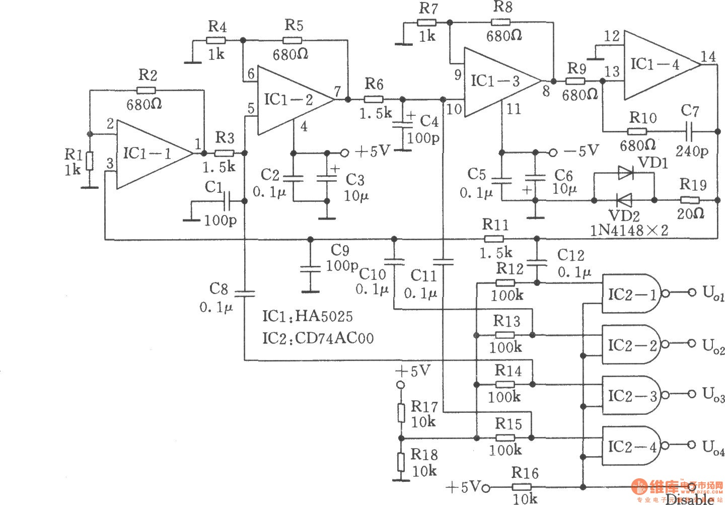 High-performance quadrature sine wave oscillator - schematic