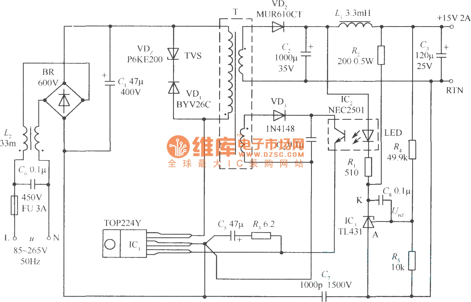 30W micro switch regulated power supply composed of TOP224Y - schematic