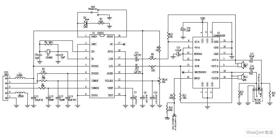 usb circuit page 7 computer circuits next gr usb dual 2 5w multimedia power amplifier circuit diagram